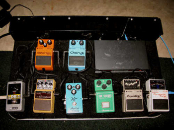 Ryan's pedal board of effects.